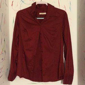 Burgundy ladies button down blouse